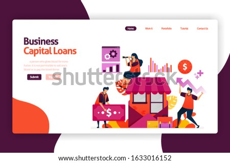 vector illustration of venture capital loans for SME development and investment. Low interest credit for young entrepreneurs and startup business. for website, landing page, banner, mobile apps, flyer