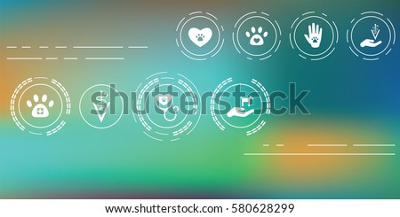 vector illustration of veterinary icons for pet service and care concepts on abstract blurry background