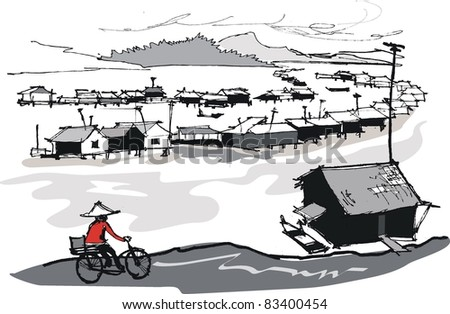 Vector illustration of Vietnamese fishing village