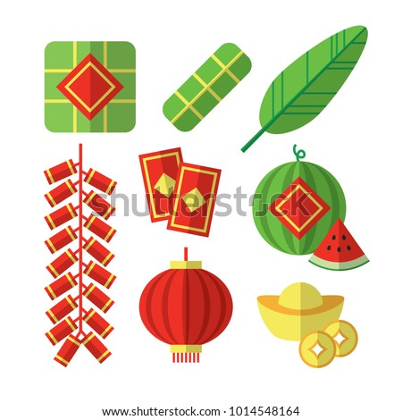 Vector Illustration of Vietnamese Tet Lunar New Year items