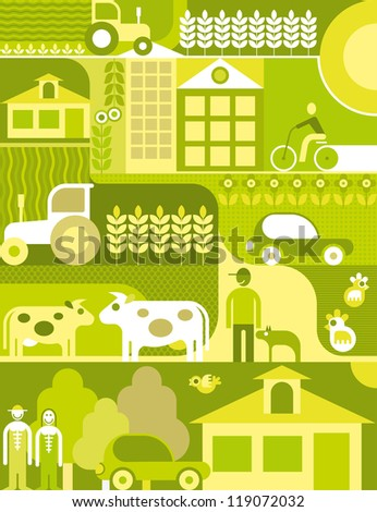 Vector illustration of village landscape. Organic farm.