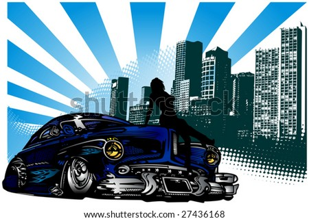 Vector illustration of vintage car and silhouette girl
