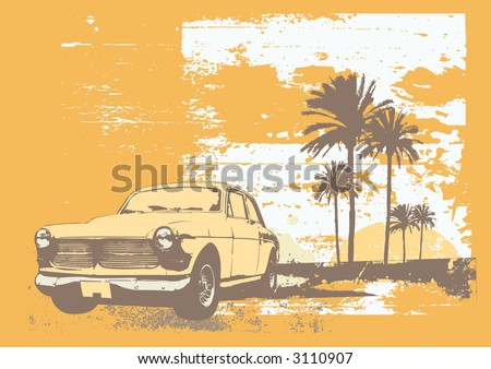 vector illustration of vintage car on the beach with palms and sunset