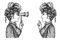 Vector illustration of vintage engraved women - person pointing with index finger, showing something to person looking through binoculars with high attention - hand drawn clipart