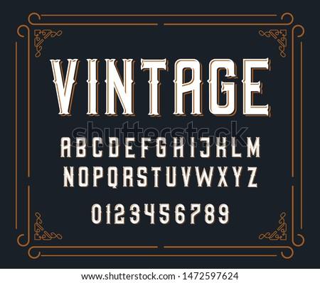 Vector illustration of vintage font.