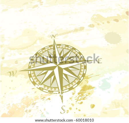 "Vector illustration of vintage grunge background with retro compass windrose. Great for any ""direction"" you want to go..."