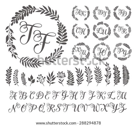 Set Of Ornamental Templates and Monograms Download Free Vector Art
