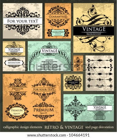 Vector illustration of vintage, retro calligraphic design elements and page decoration. - stock vector