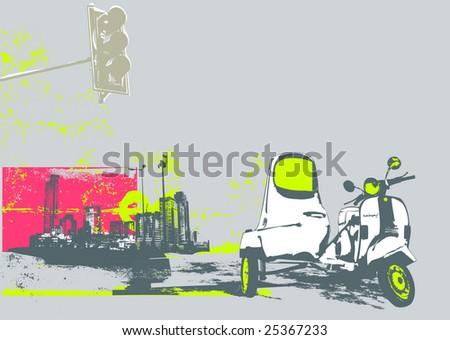 Vector illustration of vintage scooter on the grunge urban background