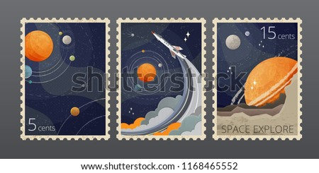 Vector illustration of vintage space postage stamp with planets and rocket isolated on gray background