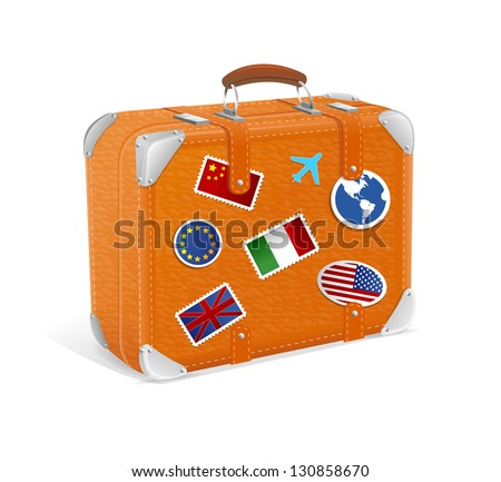 Vector illustration of vintage suitcase isolated on white - Shutterstock ID 130858670