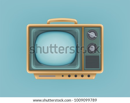 Vector illustration of vintage tv set, television. Retro electric video display for broadcasting, news. Communication, entertainment, technology icon for internet, web, networking