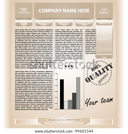 Vector illustration of vintage web page template. Layered document.