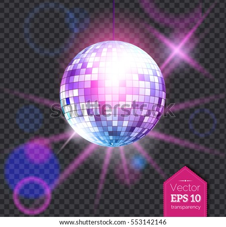 Vector illustration of violet disco ball with light rays isolated on transparent background.