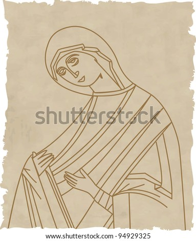 Vector illustration of Virgin Mary On Old Paper
