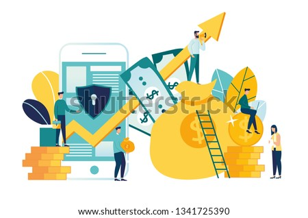vector illustration of virtual business assistant. flat icon on smartphone is merged all accounts, money, cards investment management. graphic design business concept mobile assistant, mobile banking.