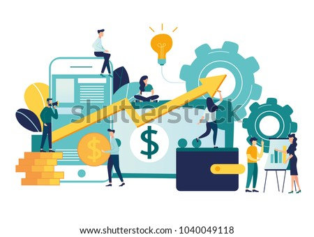vector illustration of virtual business assistant.  vector, on smartphone is merged all accounts, money, cards investment management. graphic design business concept mobile assistant, mobile banking