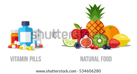 Vector illustration of vitamin pills vs. natural food. Healthy eating concept. Flat style.