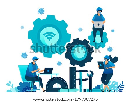 Vector illustration of vocational education scholarships and e-learning to support human resources during the covid-19 virus pandemic. Symbols of machines tools. Landing page, web, website, banner Stock photo ©