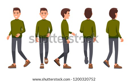 Vector illustration of walking men in casual clothes under the white background. Cartoon realistic people set. Flat young man. Front view man, Side view man, Back side view man, Isometric view.