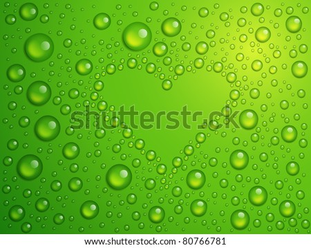 Vector illustration of water drops heart. EPS 10.