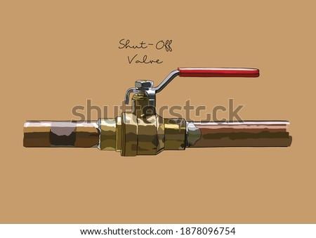 Vector Illustration of Water Shut Off, Shut Down Valve Stock photo ©