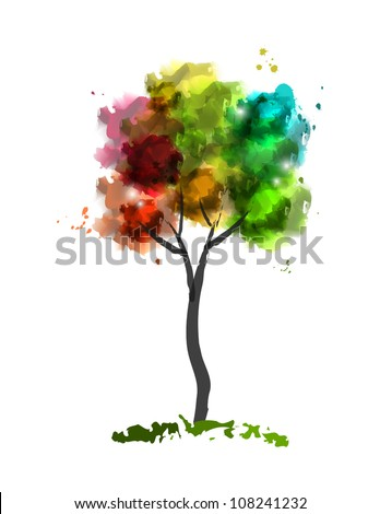 Vector illustration of watercolor tree