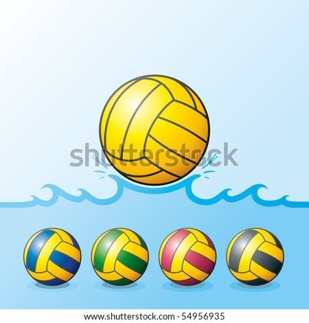 "Vector illustration of waterpolo balls. ""Full compatible. Created with gradients. Named in layers"""