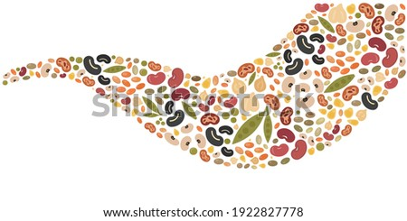 vector illustration of wave shape of pulses legumes and beans healthy food production Stock photo ©
