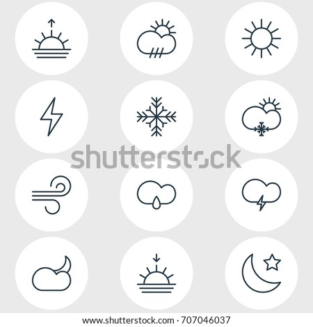 Vector Illustration Of 12 Weather Icons. Editable Pack Of Breeze, Lightning, Rain And Other Elements.