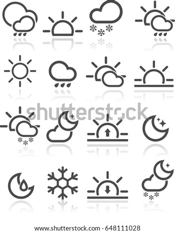 Vector Illustration of Weather Icons in Simple Black and White Style
