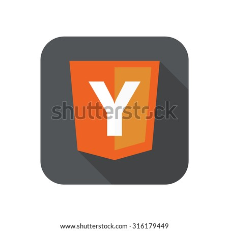 vector illustration of web development shield sign Y php framework yii. isolated icon on white background