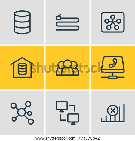 Vector illustration of 9 web icons line style. Editable set of group, wire, internet and other elements.