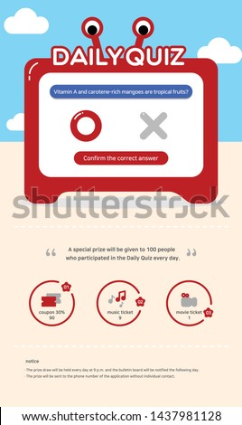 Vector illustration of web mini-game event for Mini game, event popup, completion, mission, game, web template, interface, quiz, ox quiz, beach, crab, television, monitor, screen, sky, cloud, music.