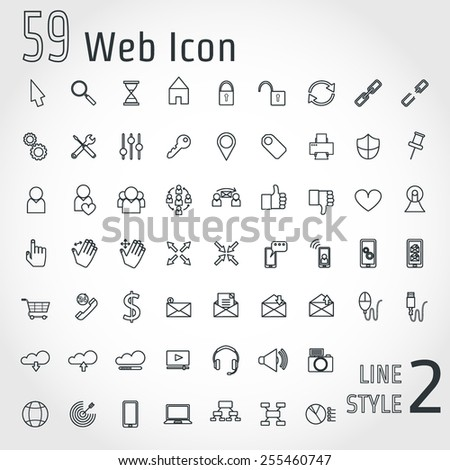 Vector Illustration of Web OutLine Style Icon for Design Website Background Banner Web Concept Template for Business Site isolated Logo silhouette Internet elements