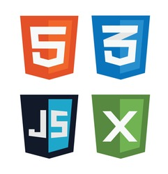 vector illustration of web shields, illustrating html5 icon, css3, javascript and xml technologies, isolated web site development icon set on white background