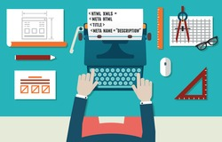 Vector illustration of website development and programming. Workplace of programmer with equipment. Top view - vector illustration