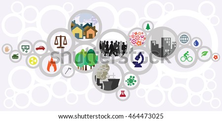 vector illustration of website horizontal  banner for sustainable development concept with circles showing ecological risks and solutions for cities and countries