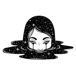 Vector illustration of weird girl with black tears and dark puddle with stars. Graphic Noir artwork. Character design. Fantasy, beauty, boho style stickers.