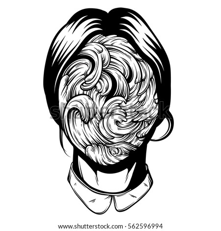 vector illustration of weird young girl with sea waves instead face