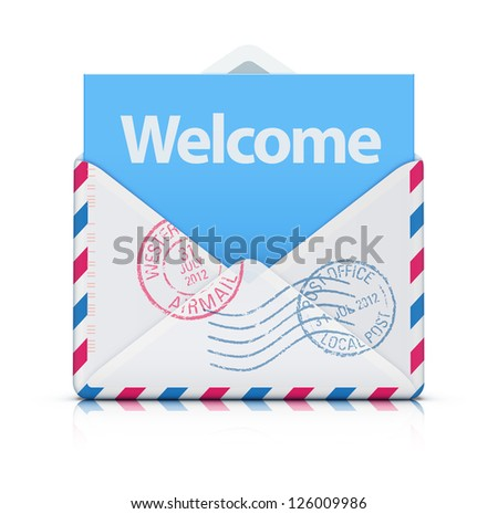 Vector illustration of Welcome concept with open blank airmail envelope