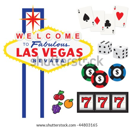 Vector illustration of Welcome to Fabulous Las Vegas sign and gambling elements including cards, dices, chips, and slot machine.
