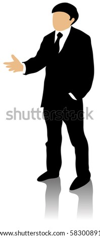 Vector illustration of well dressed business man standing talking and gesticulating isolated on white background.