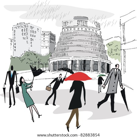 Vector illustration of Wellington New Zealand showing commuters