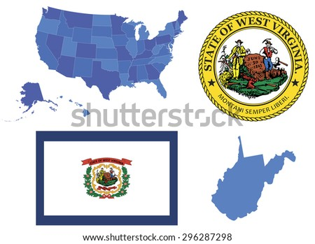 Vector Illustration of West Virginia state,contains: High detailed USA map High detailed flag of West Virginia High Detailed great seal of West Virginia state State of West Virginia,shape