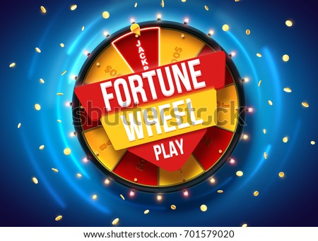 vector illustration of wheel of fortune 3d object isolated on blue background place for text ストックフォト ©