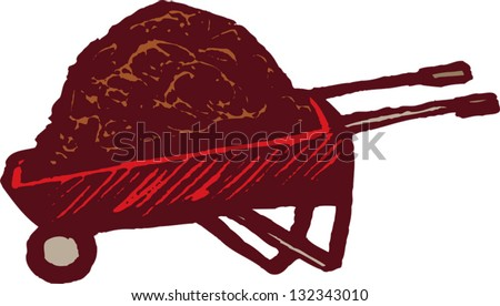 Vector illustration of wheelbarrow