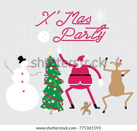 Vector illustration of whimsical Christmas characters in dancing pose