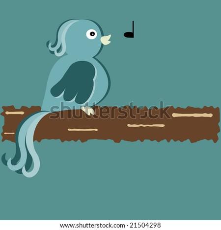 Vector illustration of whistling bird on branch