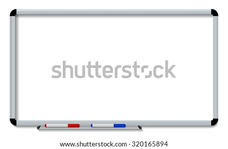 Vector illustration of white board with colored makers